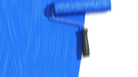 Roller Painting Blue color. Useful for Transitions. Loop-able. Alpha Channel. HD 1080.