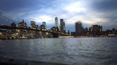 Grainy cinematic view of Manhatten
