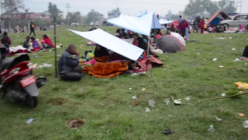 KATHMANDU NEPAL - APRIL 26 2015 People Stay In Tents In A Makeshift C& In Chuchepati Area After The 7.8 Earthquake That Hit Nepal On 25 April 2015. & KATHMANDU NEPAL - APRIL 26 2015: People Stay In Tents In A ...
