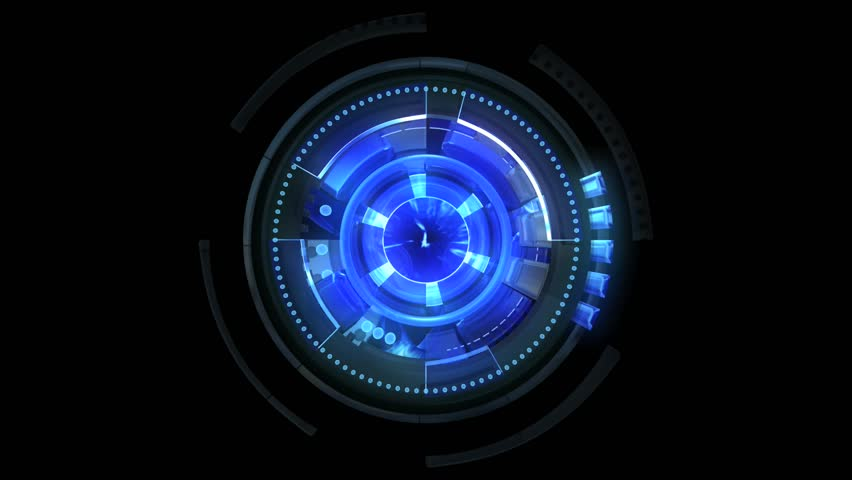 Looped blue rotating elements with abstract center. Camera pushes and then out. Loopable. | Shutterstock HD Video #981589