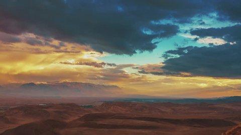 Israel, Desert Dramatic Sky Sunset Timelapse