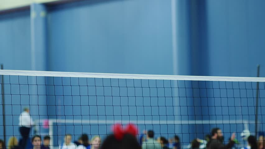 Shot Of A Volleyball Net At An Indoor Court During A Tournament ...