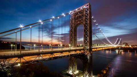 Timelapse with George Washington Bridge traffic crossing Hudson river between New Jersey and New York, at sunrise (4k). For the ProRes HD 1.9GB version, check clip ID 9565631