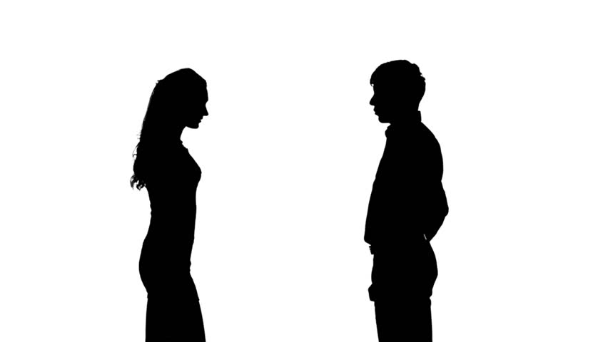 Silhouette Of Two Women Meeting And Talking Full Hd
