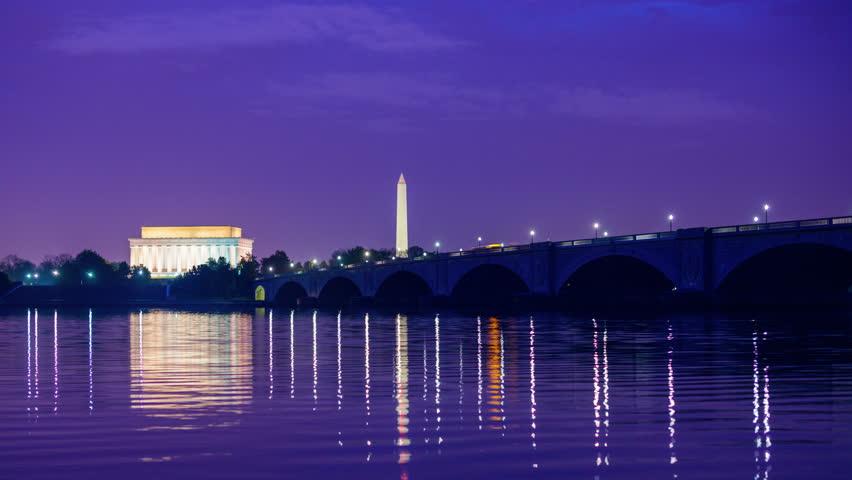 Washington, DC monuments on the Potomac river.