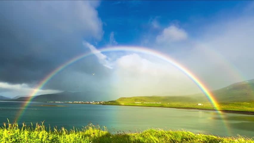 Iceland - 15 June 2015: Grass moving in the breeze and rainbow in Neighborhoods Grundarfjordur (Grundarfjörður) - a favorite place for nesting birds. 4K TimeLapse | Shutterstock HD Video #9901082