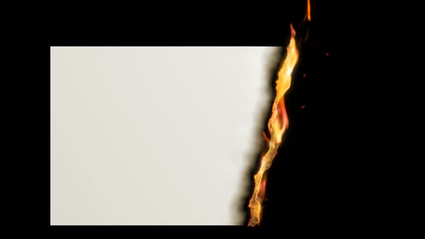 Paper Burning with Flame, HD 1080, Alpha channels for paper and for fire included. Useful for titles and transitions.