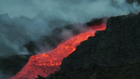 Lava channel. Eruption of Volcano Etna summer 2014
