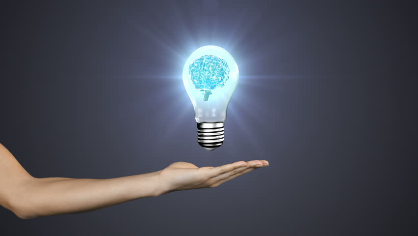 Digital Animation Of Hand Presenting Light Bulb With Brain   HD Stock  Footage Clip