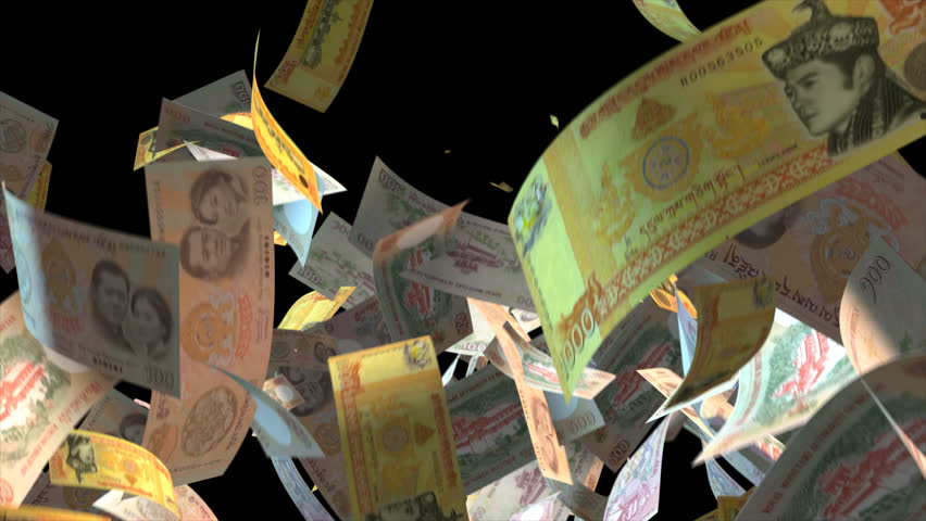 Falling Bhutan money banknotes