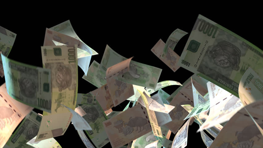 Falling Congo money banknotes Video Effect simulates Falling Mixed Congo Money banknotes with alpha channel (transparent background) in 4k resolution  | Shutterstock HD Video #9922133