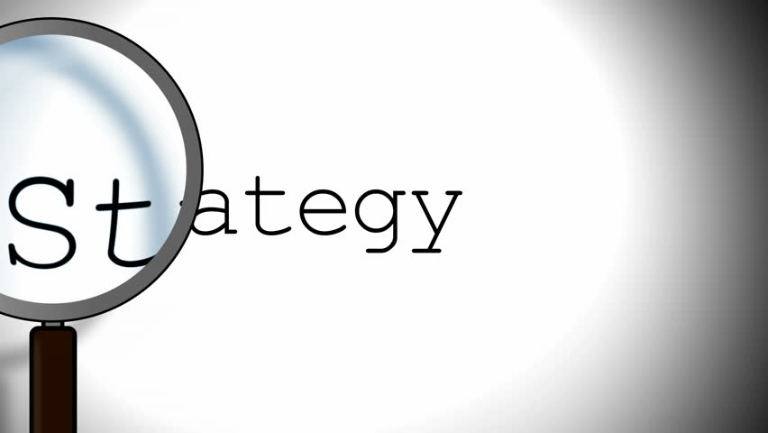 Strategy - word and magnifying glass