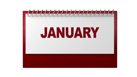 Turning pages in monthly  white calendar