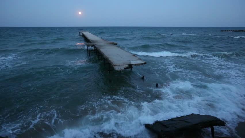 Full moon night, ruined pier and Black sea coast (Bulgaria). #9939743
