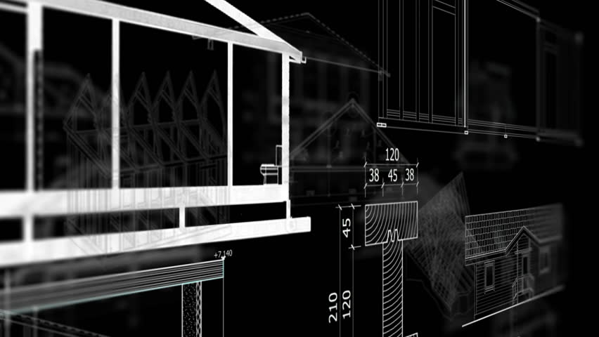 Abstract Architecture Models On Bkack Background