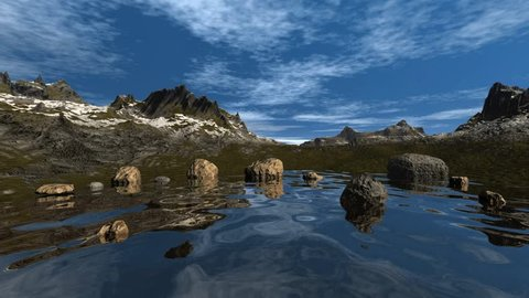 Snowy mountains  animation, a  beautiful landscape with stones in the lake and the grassy ground, at the end walking on the mountain through the rocks and the snows under the sky with white clouds.