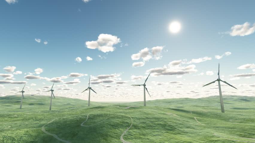 Wind turbines, time lapse