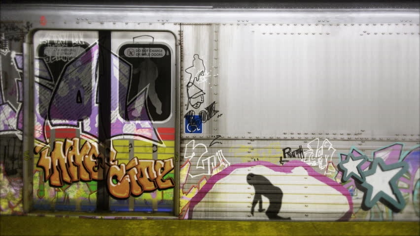 Animated moving graffiti on a subway car with space for text or titles. This is a perfect backdrop for a funky intro tiles or hip hop scene.